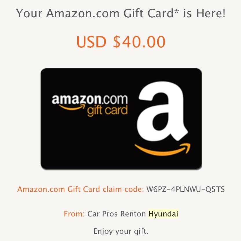 GRATIS $40 en Amazon con la prueba de manejo de un auto Hyundai