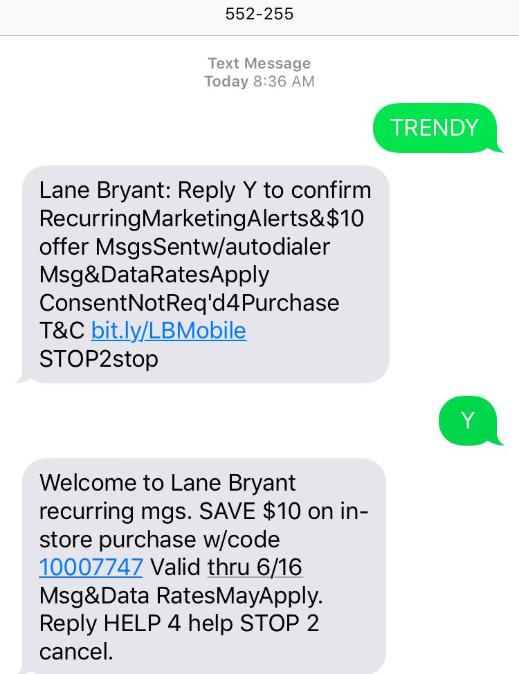 cupón de $10 en Lane Bryant