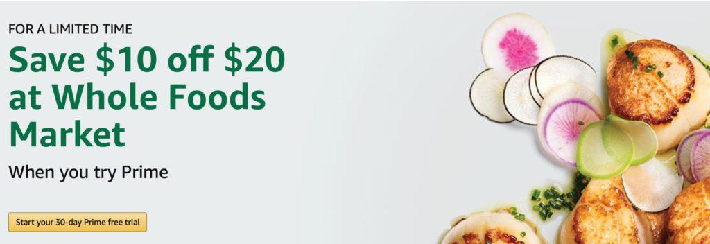 GRATIS $10 descuento en la compra de $20 en Whole Foods Market