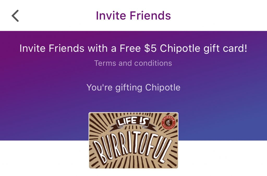 free $5 chipotle gift card
